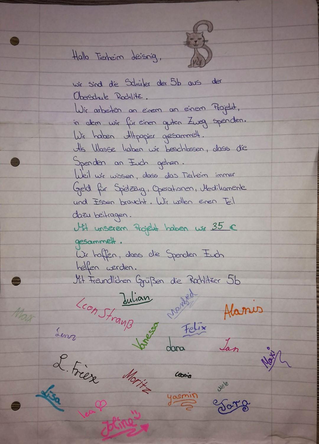 Brief der Klasse 5b aus Rochlitz
